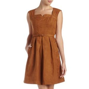 FAUX BROWN SUEDE DRESS by Nanette Lepore